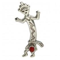 Broșă - amuletă amerindiană Rainbow Man | argint & coral roșu natural | Statele Unite