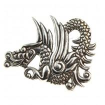 Impresionantă broșă mexicană Quetzalcoatl | manufactură în argint | atelier Taxco