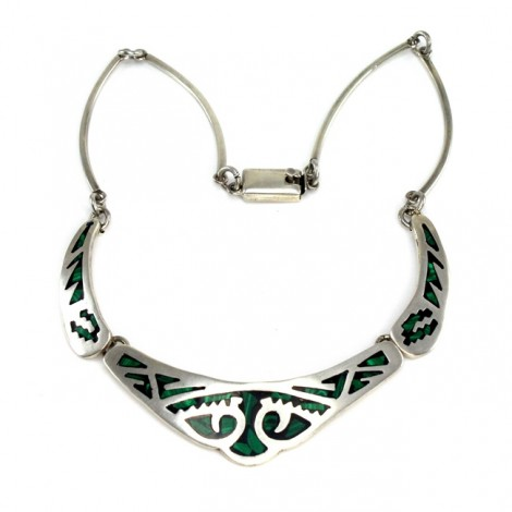 Colier modernist mexican Azteca | argint, malachit & email | cca.1970