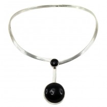 Spectaculos colier choker mexican | Space Age | argint & onix negru natural | atelier Taxco | cca.1960 - 1970