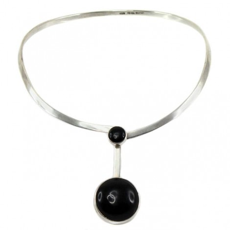 Spectaculos colier choker mexican   Space Age   argint & onix negru natural   atelier Taxco   cca.1960 - 1970