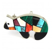 Amuletă amerindiană broșă-pandant Spirit Bear | argint & pietre naturale | artizan navajo Dean Brown