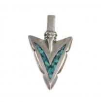 Amuletă amerindiană Arrowhead   argint & mozaic de turcoaze naturale   Statele Unite