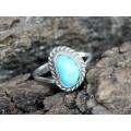 Rafinat inel amerindian decorat cu turcoaz natural Blue Ridge | Statele Unite