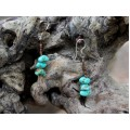 Cercei tribali amerindieni | argint, turcoaze naturale Kingman, scoici | Statele Unite