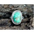 Vechi inel amerindian decorat cu turcoaz natural Fox | manufactură în argint | Statele Unite