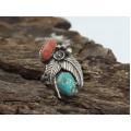 Inel etnic amerindian | argint, turcoaz natural & coral roșu natural | Statele Unite