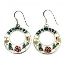 Cercei vintage tradiționali mexicani | Arracada | argint, email & mozaic de pietre naturale