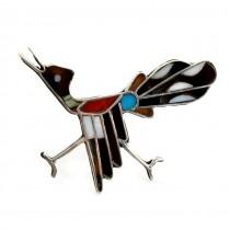 Rafinată broșă - amuletă amerindiană | Wild Rooster | argint & intarsie de pietre naturale | Statele Unite