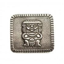Broșă - amuletă Azteca | Centeotl | manufactură în argint | cca. 1940 -1950 | Mexic