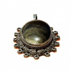 Opulent pandant locket mexican | argint &  obsidian Gold Sheen | cca. 1950