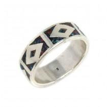 Inel bărbătesc din argint decorat cu mozaic de pietre naturale intarsiate în email | Mexic