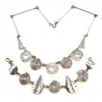 Set de bijuterii moderniste mexicane compus din colier și brățară | argint 925 | Star Trails | cca 1980 -1990