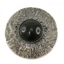 Broșă statement în stil brutalist | manufactură în argint & jad natural | Polonia anii '60