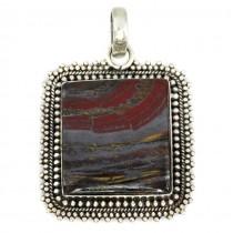 Amuletă amerindiană decorată cu un spectaculos specimen de piatră naturală Tiger Iron | argint 925 | Statele Unite