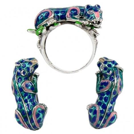 Spectaculos set de bijuterii estate din argint emailat | Wild Cats | cercei și inel | Statele Unite
