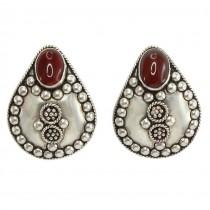 Impresionanți cercei etnici orientali din argint decorat cu agate carnelian | prindere clips | atelier Sezgin | Turcia