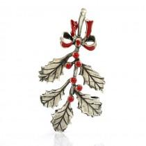 Miniatură din argint emailat pentru decor de Crăciun | ramură de vâsc | atelier I Gemelli | Italia