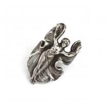 Inel statement Art Nouveau din argint sterling | Cabaret Lady | Statele Unite | cca.1910
