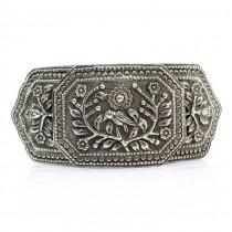 Veche pafta  indiană din argint decorat prin gravare manuală | Pasărea soarelui | British Raj