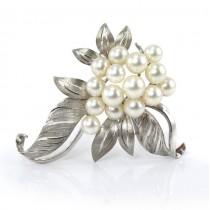 Broșă vintage din argint decorată cu perle de cultură | Statele Unite | cca.1980