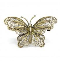 Broșă din argint filigranat și aurit  | Fluture |  manufactură de atelier genovez | anii ''70