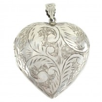 Impresionant pandant locket din argint gravat manual locket | Love Of My Heart | Marea Britanie