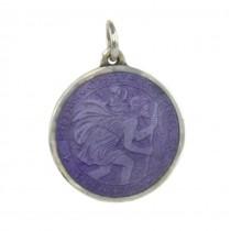 Amuletă Sfantul Cristofor din argint emailat basse-taille   atelier  J T Inman Co.   Statele Unite