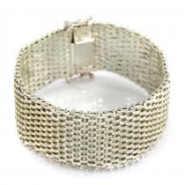 Elegantă brățară statement din argint | Wide Mesh | atelier Milor | Milano - Italia