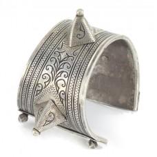 Impresionantă brătară tribală Ida Ou Nadif   Azbeg   manufactură în argint & niello   Maroc   început de secol XX