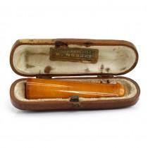 Muștiuc pentru trabuc din chihlimbar natural | retailer H Sonette | Belgia cca.1900