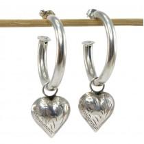 Cercei hoop accesorizațí cu inimioare gravate manual | argint 925 | atelier Chapal-Zenray | Statele Unite