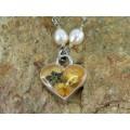 Rafinat colier mexican decorat cu potpourri de flori naturale | argint și perle naturale de cultură | Nahua