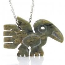 Colier cu amuletă amerindiană sculptată în steatit natural | The Peace Eagle | atelier Elka | cca. 1970 Statele Unite