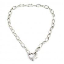 Colier statement modernist din argint inedit decorat cu o inimă | Franța
