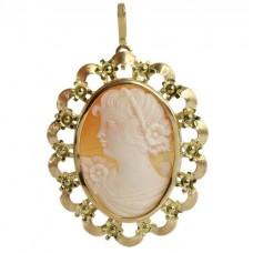 Broșă-pandant din aur 18 k decorată cu o camee naturală sculptată în stil victorian | Italia cca. 1950