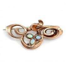 Rafinată broșă victoriană rolled gold decorată cu opale naturale | Marea Britanie | cca.1860