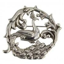 Broșă modernistă mexicană din argint cu design de inspirație Art Nouveau | atelier Gerardo Lopez - Taxco | cca.1950