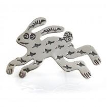 Inedită broșă modernistă amerindiană stilizată sub forma unei amulete Rabbit | atelier Carolyn Pollack