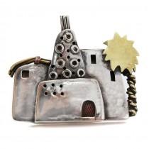 Superbă broșă egipteană din argint semnată de renumita artistă Azza Fahmy | Siwa Oasis | 1994