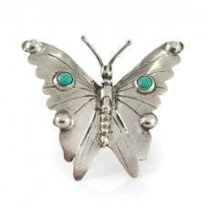 Splendidă broșă amerindiană rafinat stilizată sub forma unui fluture decorat cu turcoaze naturale Royston | argint sterling | Statele Unite cca.1960