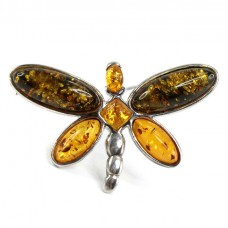 Broșă Dragonfly din argint decorat cu spectaculoase anturaje de chihlimbar baltic natural | Polonia