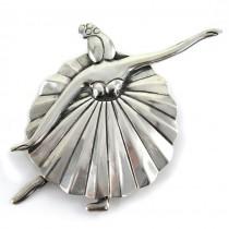 Broșă mexicană din argint stilizată sub forma unei dansatoare de flamenco | cca.1980