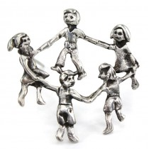 Broșă modernistă mexicană stilizată sub forma unei hore cu copii | argint 925 | cca.1980