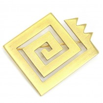 Broșă modernistă din argint aurit | Genesis | atelier olandez | cca. 1990