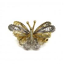 Broșă vintage din argint filigranat și aurit stilizată sub forma unui fluture | Italia anii 1970