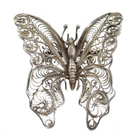 Rafinată broșă mexicană din argint filigranat sub forma unui fluture | cca. 1950 -1960