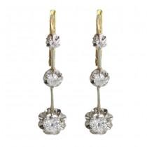 Cercei Art Deco din aur 18k decorați cu diamante naturale 0.65 CT montate în platină Franța cca.1920