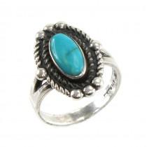 Inel vintage amerindian decorat cu turcoaz natural Royston | manufactură în argint sterling | atelier Bell Trading Post | anii '60 Statele Unite