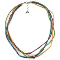 Rafinat colier multi strand decorat cu șiraguri de opal portocaliu, apatit , jad nefrit si granat | charmuri  din argint | Statle Unite